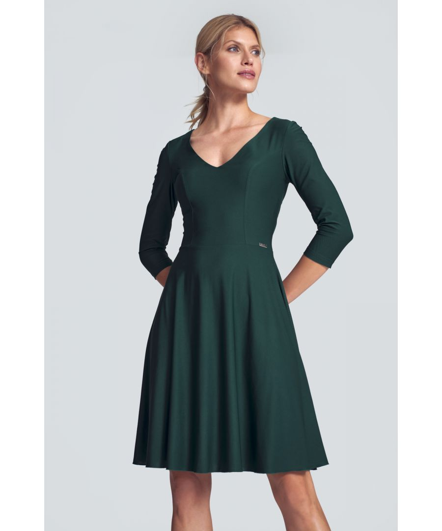 Image for Green Cocktail Midi Dress With a V-neck