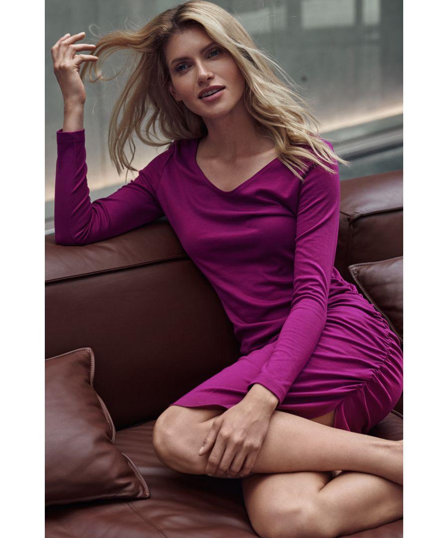 Image for Fuchsia Fitted Creased Midi Dress