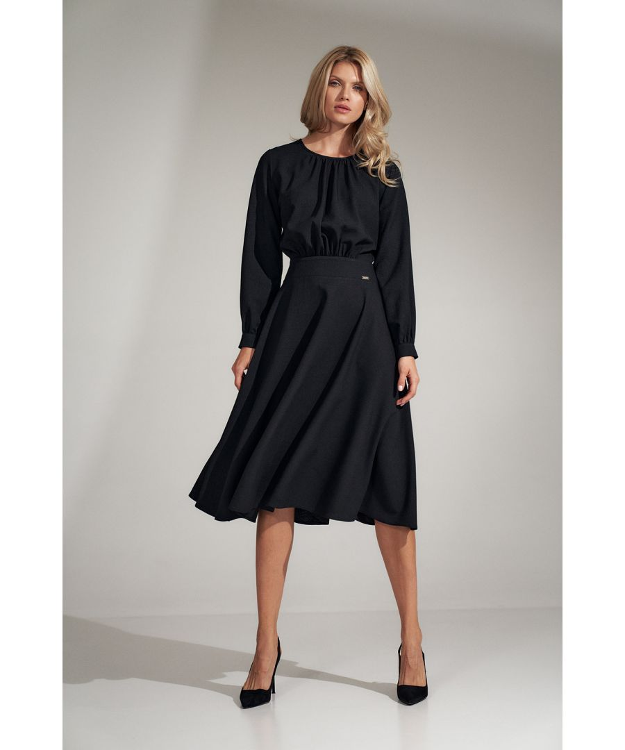 Image for Black Flared Midi Dress