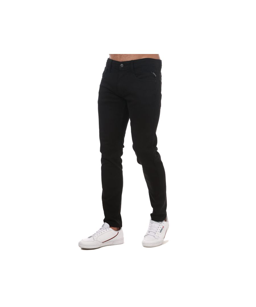 Image for Men's Replay Anbass Slim Fit Stretch Jeans in Black