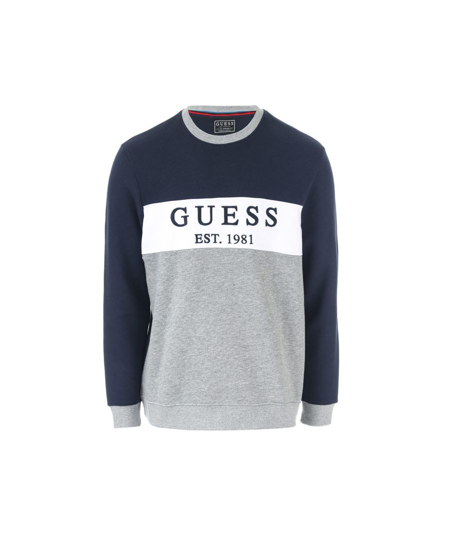 Image for Men's Guess Core Logo Fleece Crew Sweatshirt in Navy