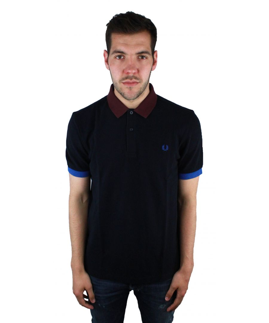 Image for Fred perry M9552 608 Colour Block Pique Navy Polo Shirt