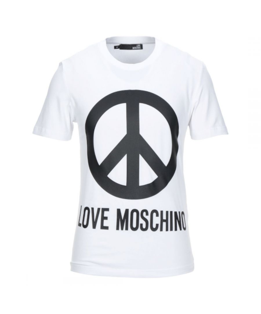 Image for Love Moschino Large Brand Peace Logo White T-Shirt