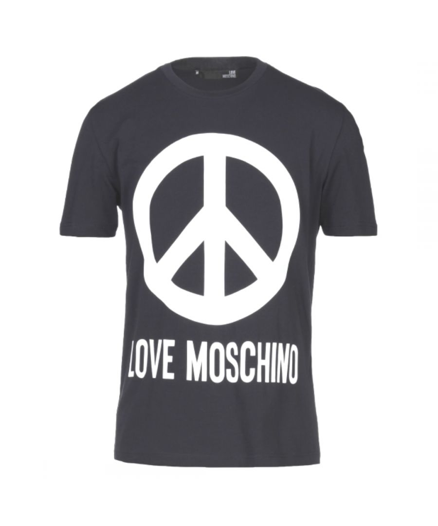 Image for Love Moschino Large Brand Peace Logo Navy Blue T-Shirt