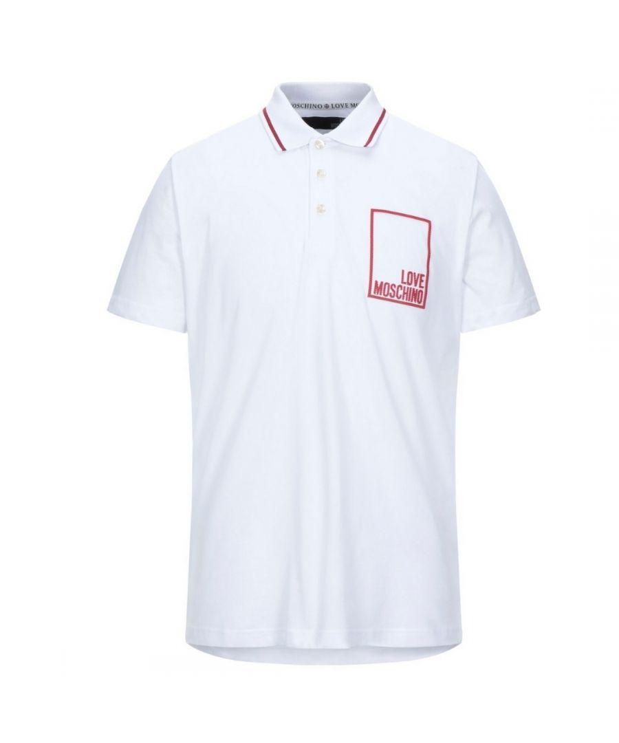 Image for Love Moschino Box Logo White Polo Shirt