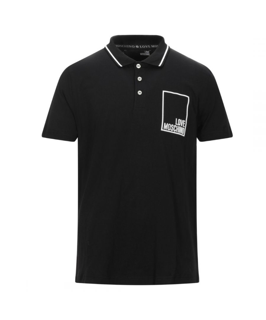 Image for Love Moschino Box Logo Black Polo Shirt