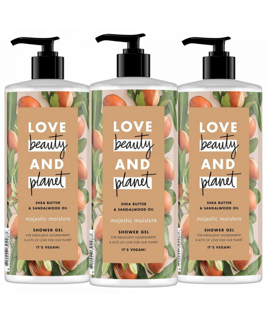 Image for Love Beauty & Planet Majestic Moisture Shea Butter & Sandalwood Oil Shower Gel 500ml (Pack of 3)