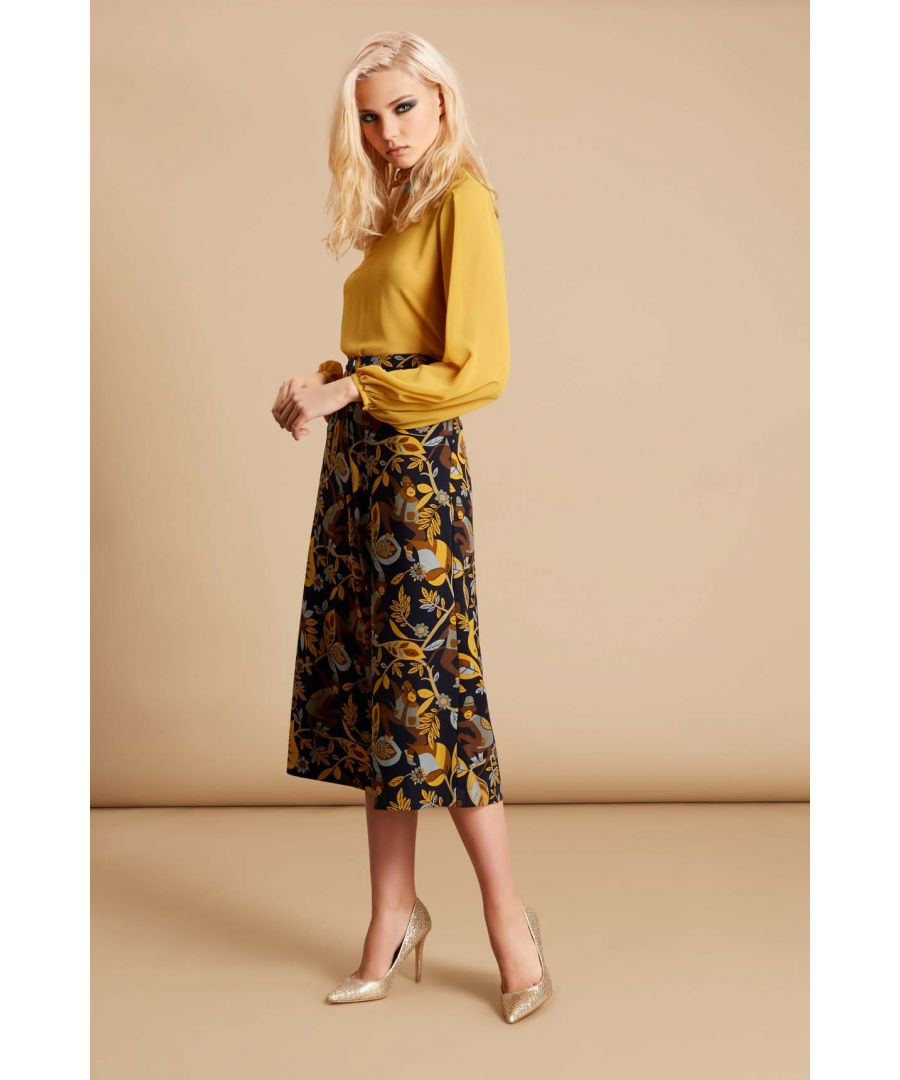 Image for Monkey Printed Culottes Trousers in Black