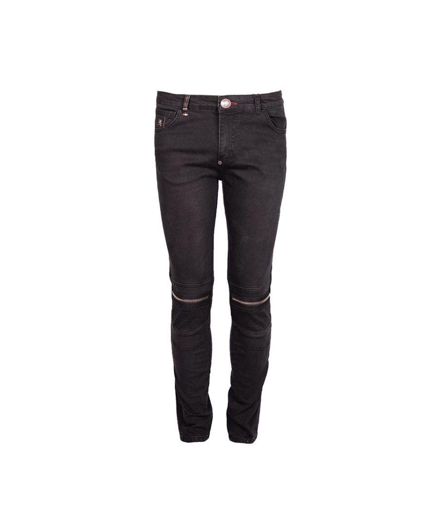 Image for Philipp Plein MDT0133 Artistic 62WA Black Biker Jeans