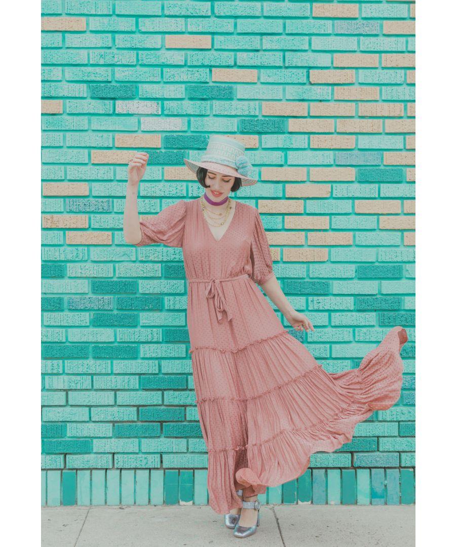 Image for Satin Polka Dot Felicitations Maxi Dress in Blush Pink