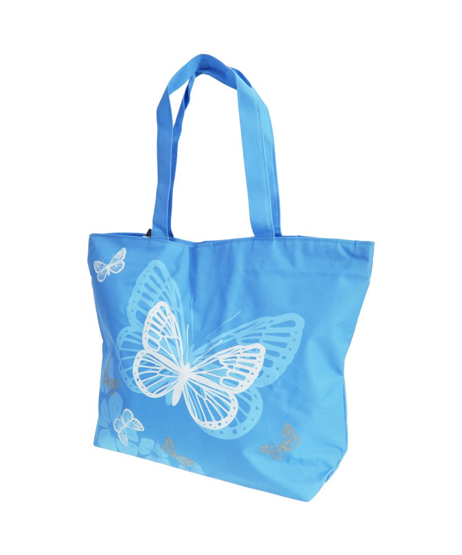 Image for FLOSO Womens/Ladies Floral Butterfly Design Handbag (Blue)