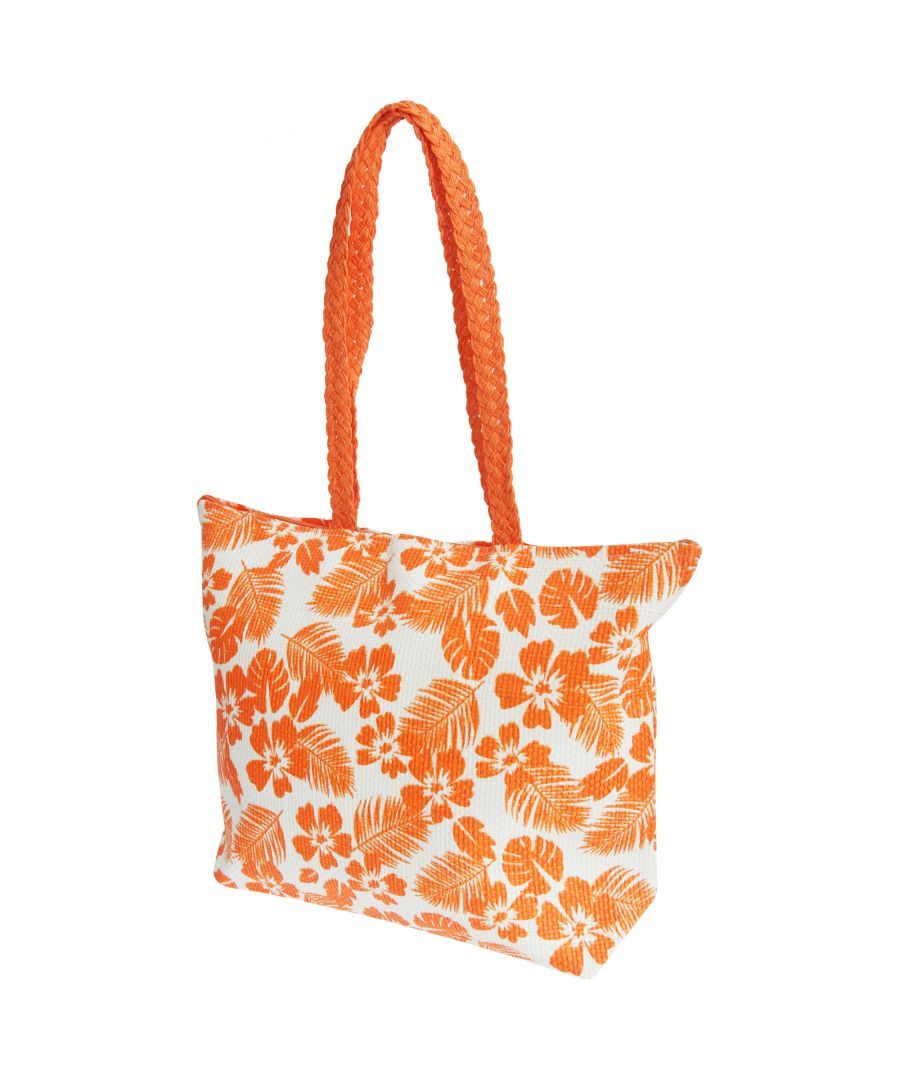 Image for FLOSO Womens/Ladies Floral Leaf Pattern Straw Woven Summer Handbag (White/Coral)