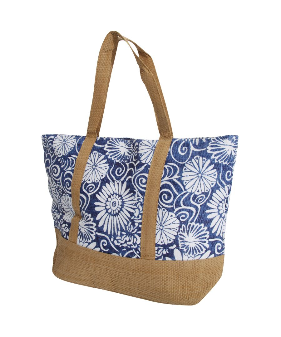 Image for FLOSO Womens/Ladies Woven Floral Print Summer Handbag (Blue)