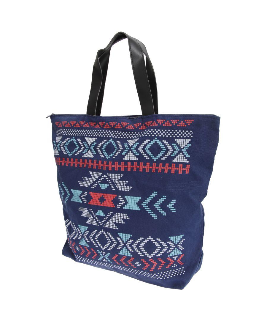 Image for FLOSO Womens/Ladies Cotton Rich Aztec Print Top Handle Handbag (Navy)