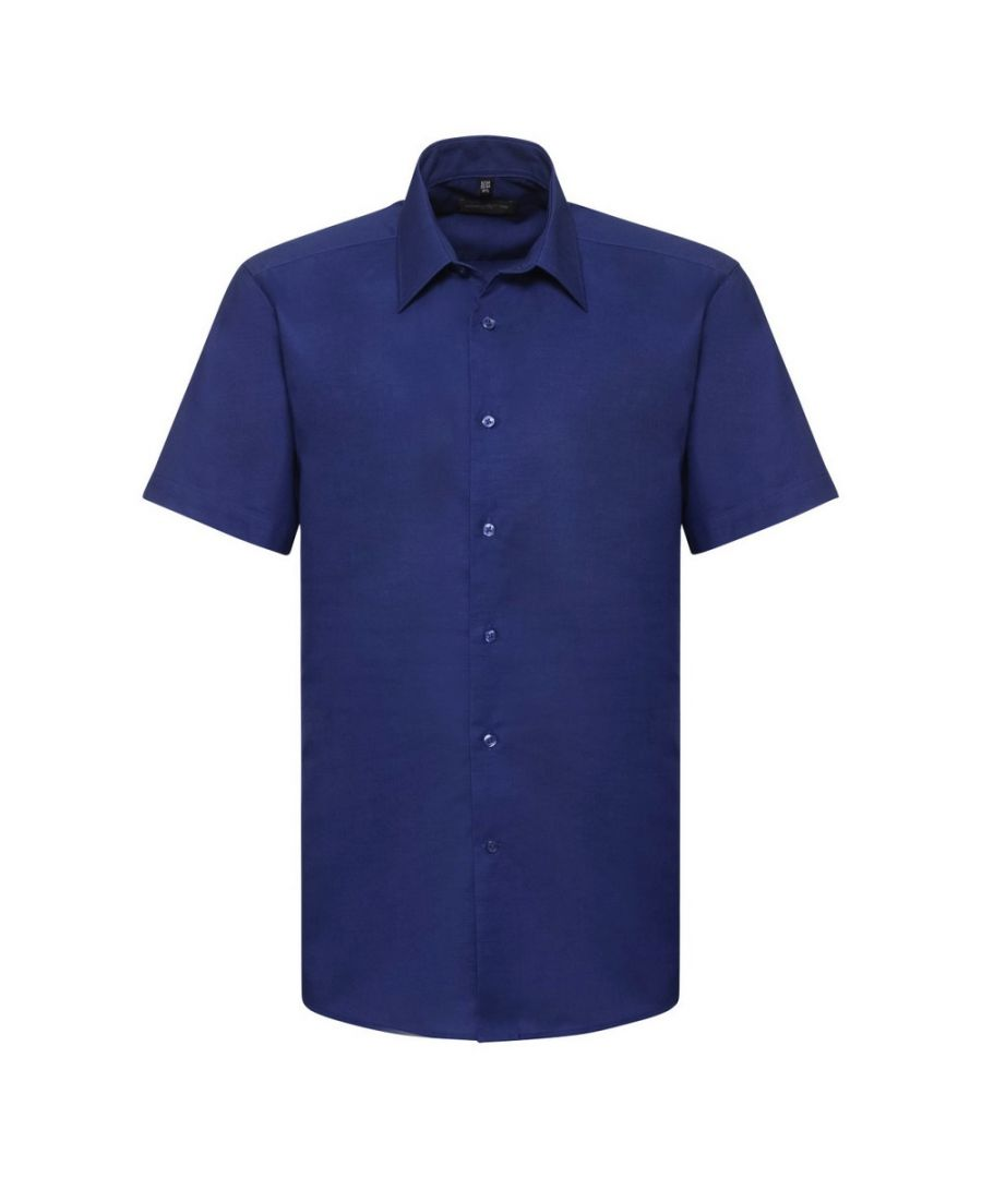 Image for Russell Collection Mens Short Sleeve Easy Care Tailored Oxford Shirt (Bright Royal)