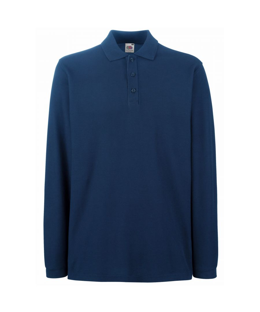 Image for Fruit Of The Loom Mens Premium Long Sleeve Polo Shirt