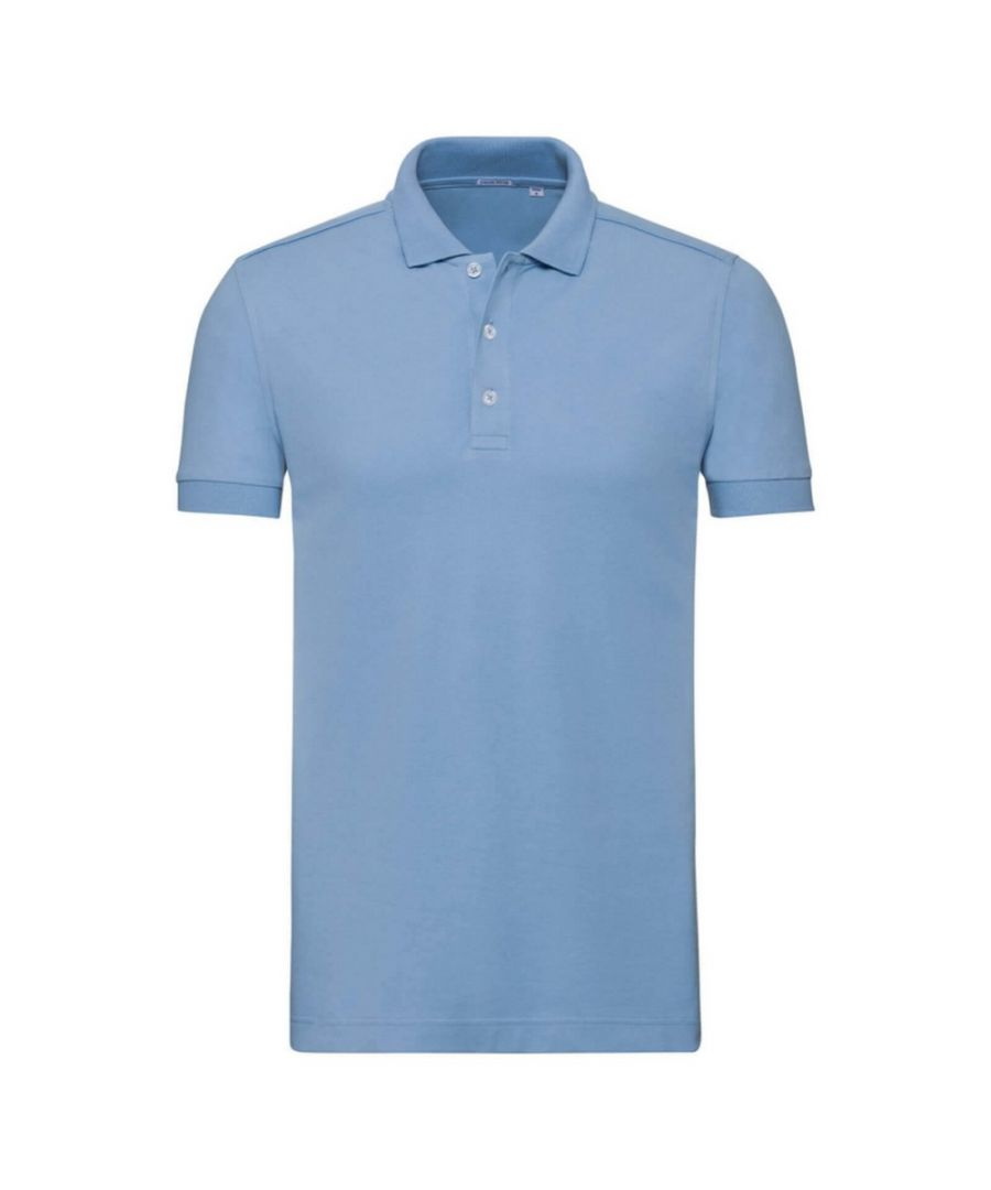 Image for Russell Mens Stretch Short Sleeve Polo Shirt (Sky Blue)