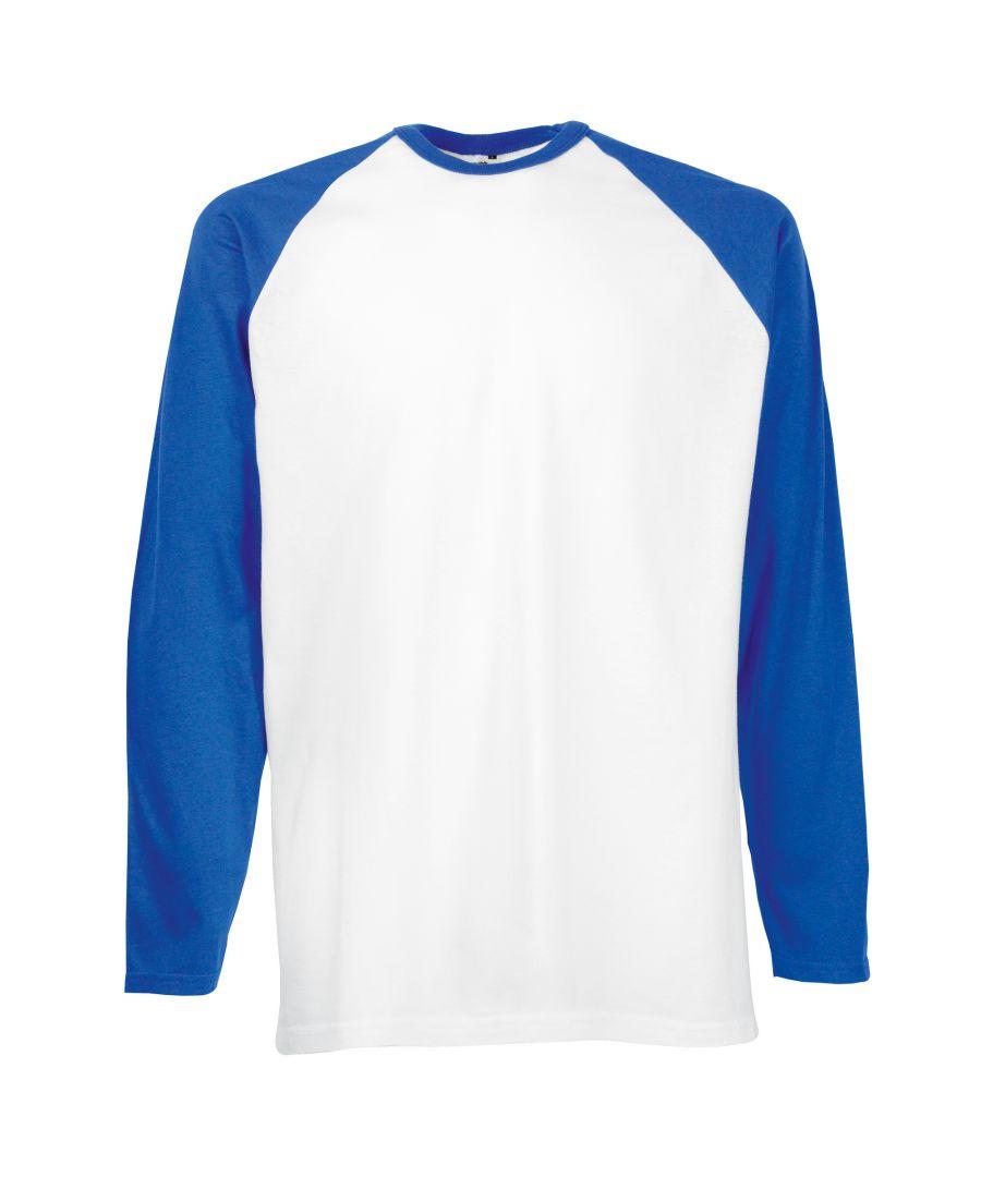Image for Fruit Of The Loom Mens Long Sleeve Baseball T-Shirt