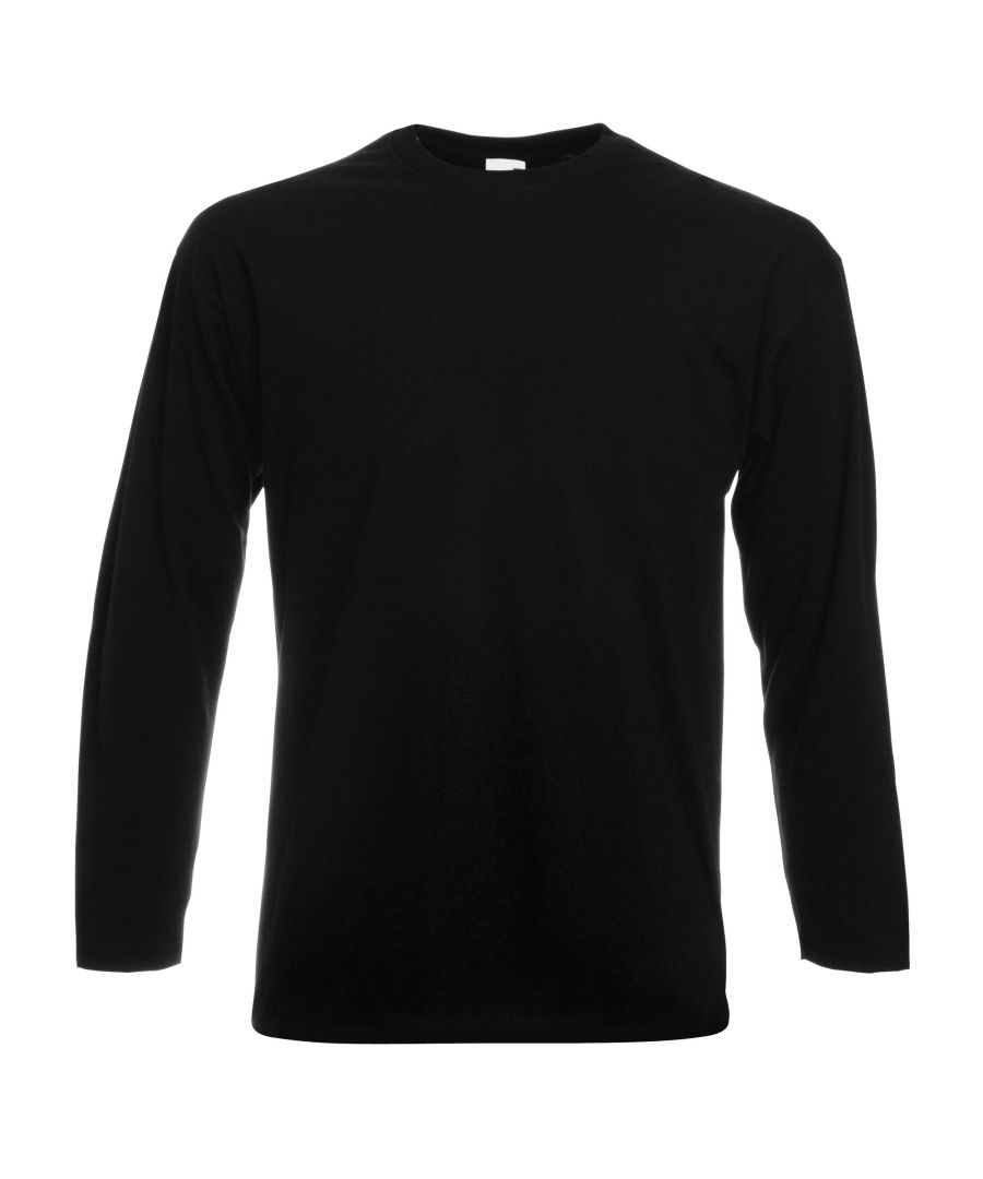 Image for Fruit Of The Loom Mens Valueweight Crew Neck Long Sleeve T-Shirt