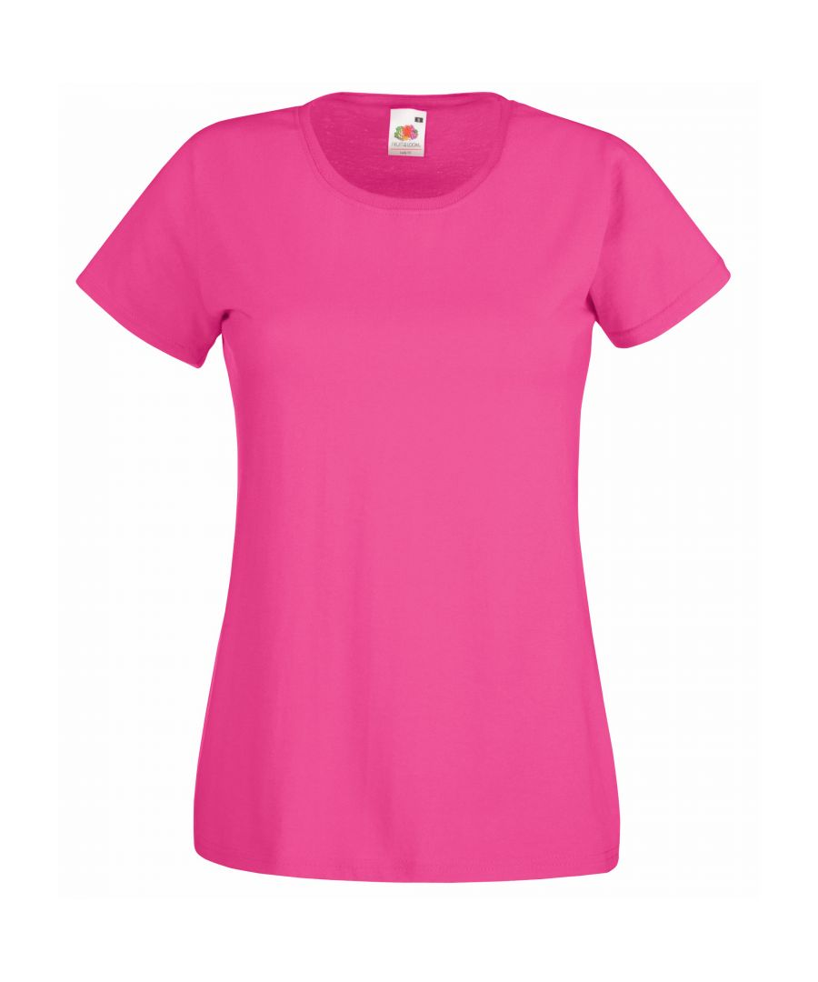 Image for Fruit Of The Loom Ladies/Womens Lady-Fit Valueweight Short Sleeve T-Shirt (Pack Of 5) (Fuchsia)
