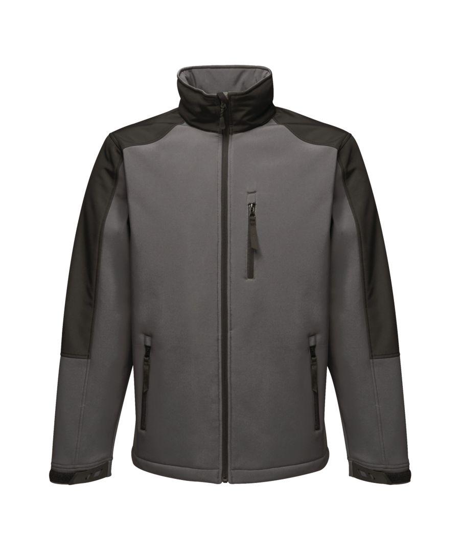 Image for Regatta Mens Hydroforce 3-layer Membrane Waterproof Breathable Softshell Jackets (Seal Grey/Black)