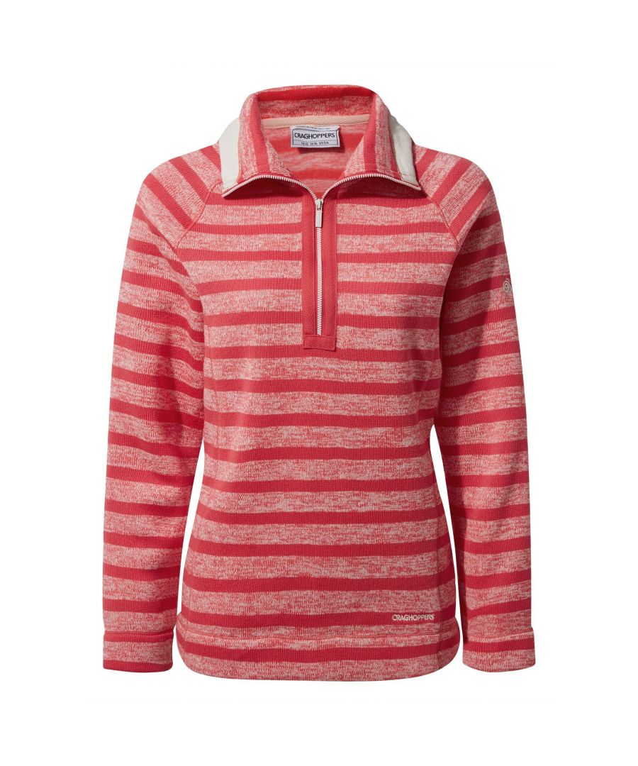 Image for Craghoppers Womens/Ladies Alphia Half Zip Fleece (Rio Red Stripe)