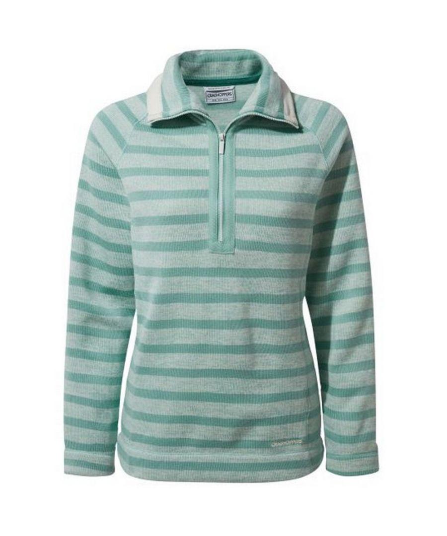 Image for Craghoppers Womens/Ladies Alphia Half Zip Fleece (Sea Breeze Stripe)