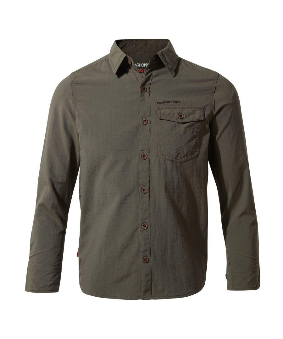 Image for Craghoppers Childrens/Kids NosiLife Emerson Long Sleeved Shirt (Dark Khaki)