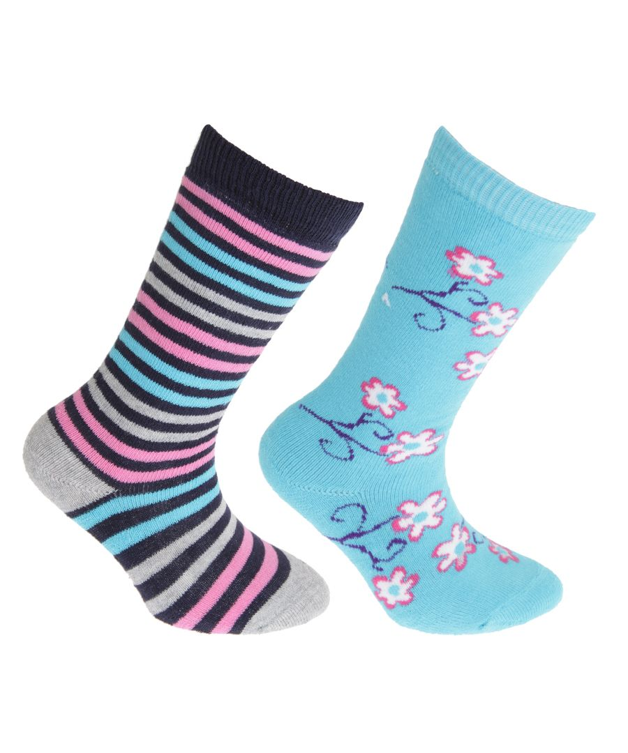 Image for FLOSO Childrens/Kids Cotton Rich Welly Socks (2 Pairs) (Blue/Pink)