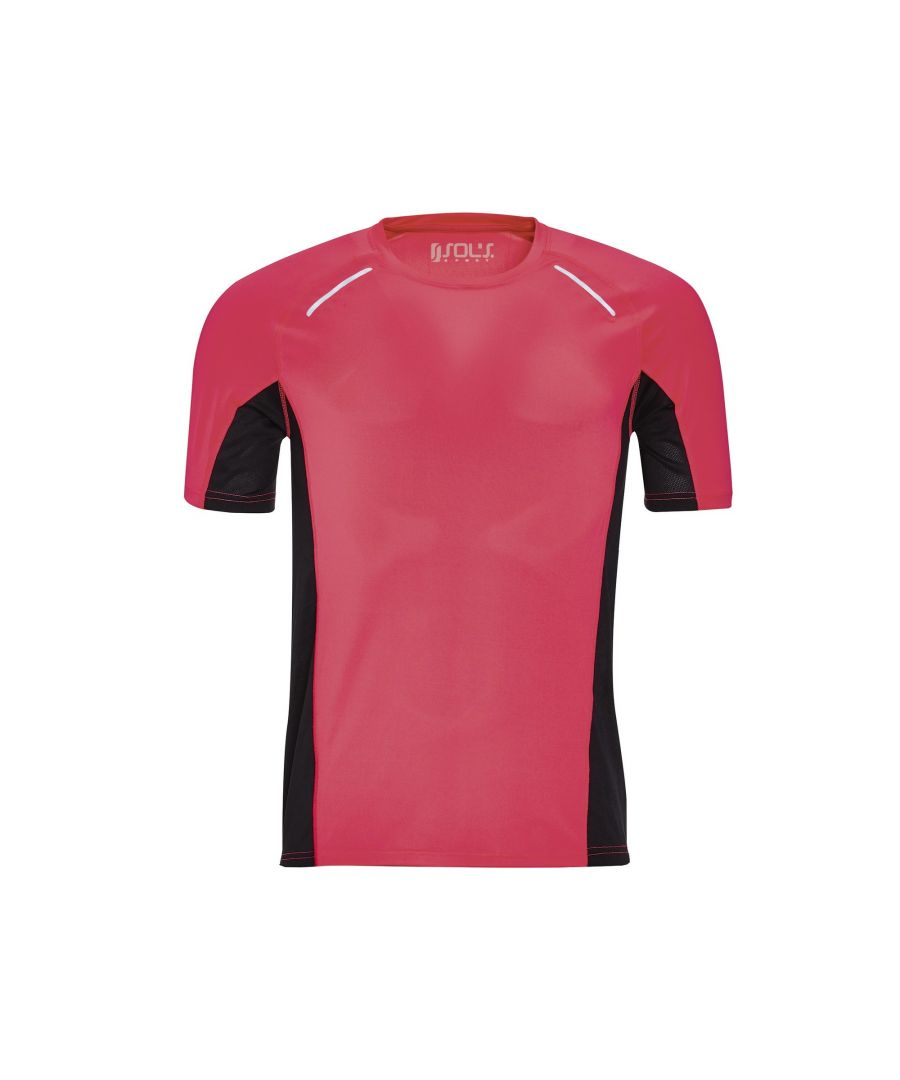 Image for SOLS Mens Sydney Reflective Running T-Shirt (Neon Coral)