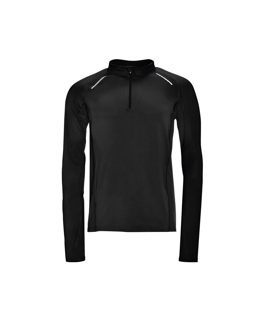 Image for SOLS Mens Berling Long Sleeve Zip Neck Sports Top (Black)