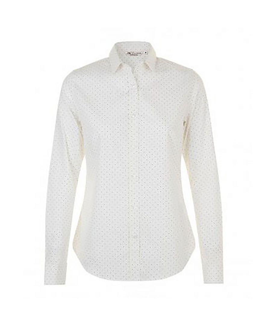Image for SOLS Womens/Ladies Becker Polka Dot Long Sleeve Poplin Shirt (White/French Navy)