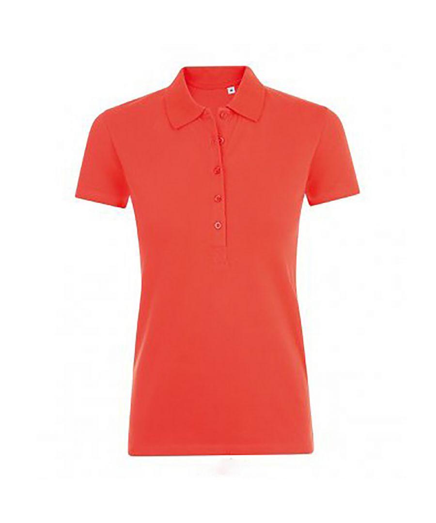 Image for SOLS Womens/Ladies Phoenix Short Sleeve Pique Polo Shirt (Hibiscus)