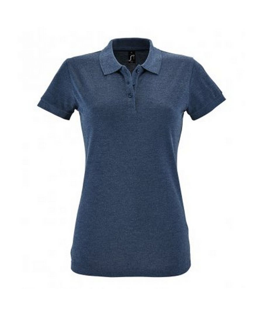 Image for SOLS Womens/Ladies Perfect Pique Short Sleeve Polo Shirt (Heather Denim)