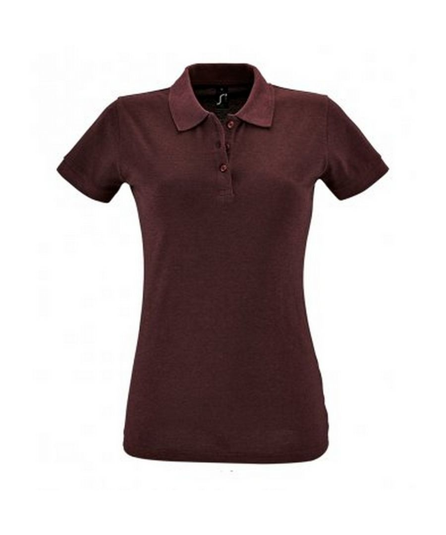 Image for SOLS Womens/Ladies Perfect Pique Short Sleeve Polo Shirt (Heather Oxblood)