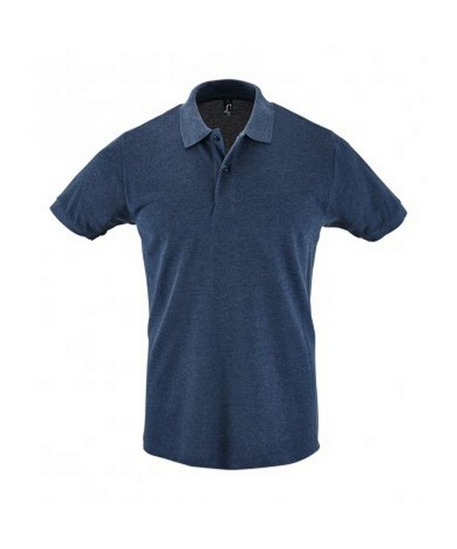 Image for SOLS Mens Perfect Pique Short Sleeve Polo Shirt (Heather Denim)