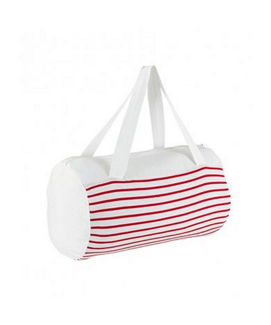 Image for SOLS Sunset Striped Jersey Duffle Bag (White/Red)
