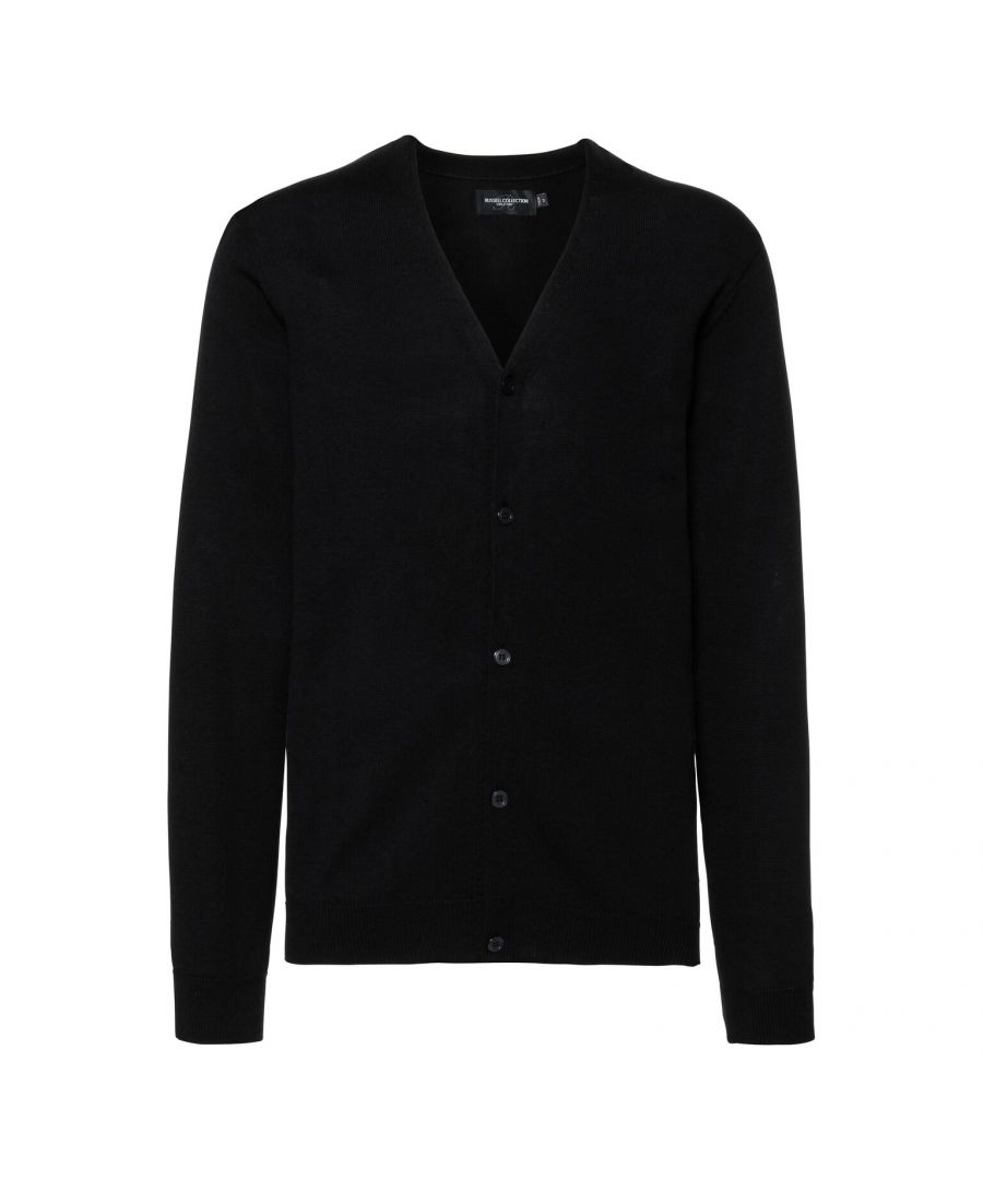 Image for Russell Mens Cotton Acrylic V Neck Cardigan (Black)