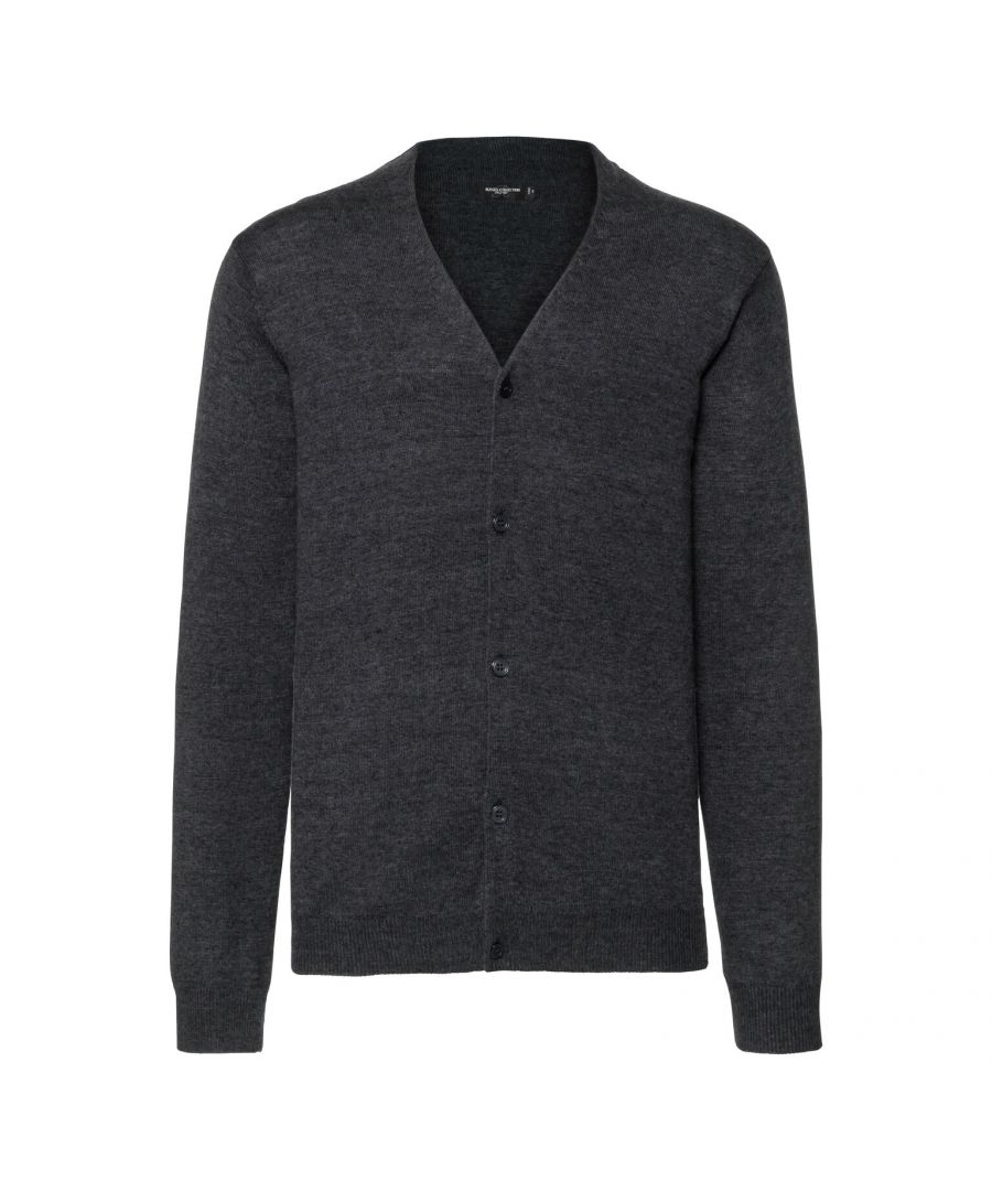 Image for Russell Mens Cotton Acrylic V Neck Cardigan (Charcoal Marl)