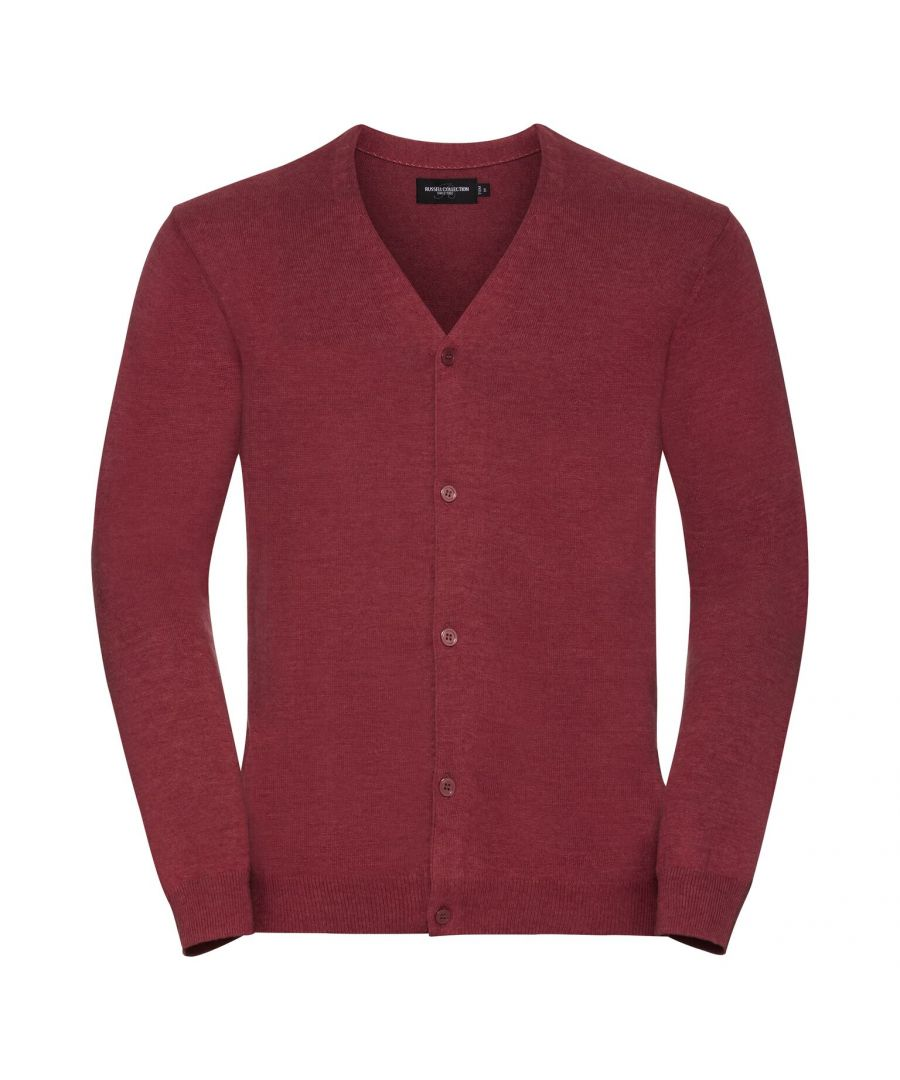 Image for Russell Mens Cotton Acrylic V Neck Cardigan (Cranberry Marl)