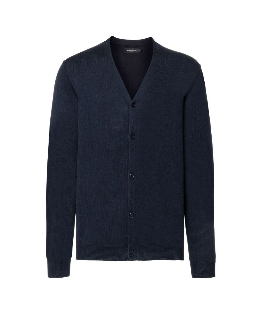 Image for Russell Mens Cotton Acrylic V Neck Cardigan (French Navy)