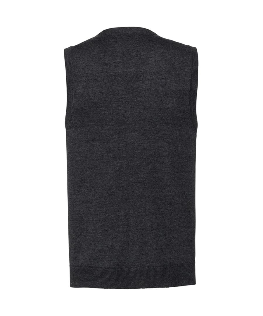 Image for Russell Mens Sleeveless Cotton Acrylic V Neck Cardigan (Black)