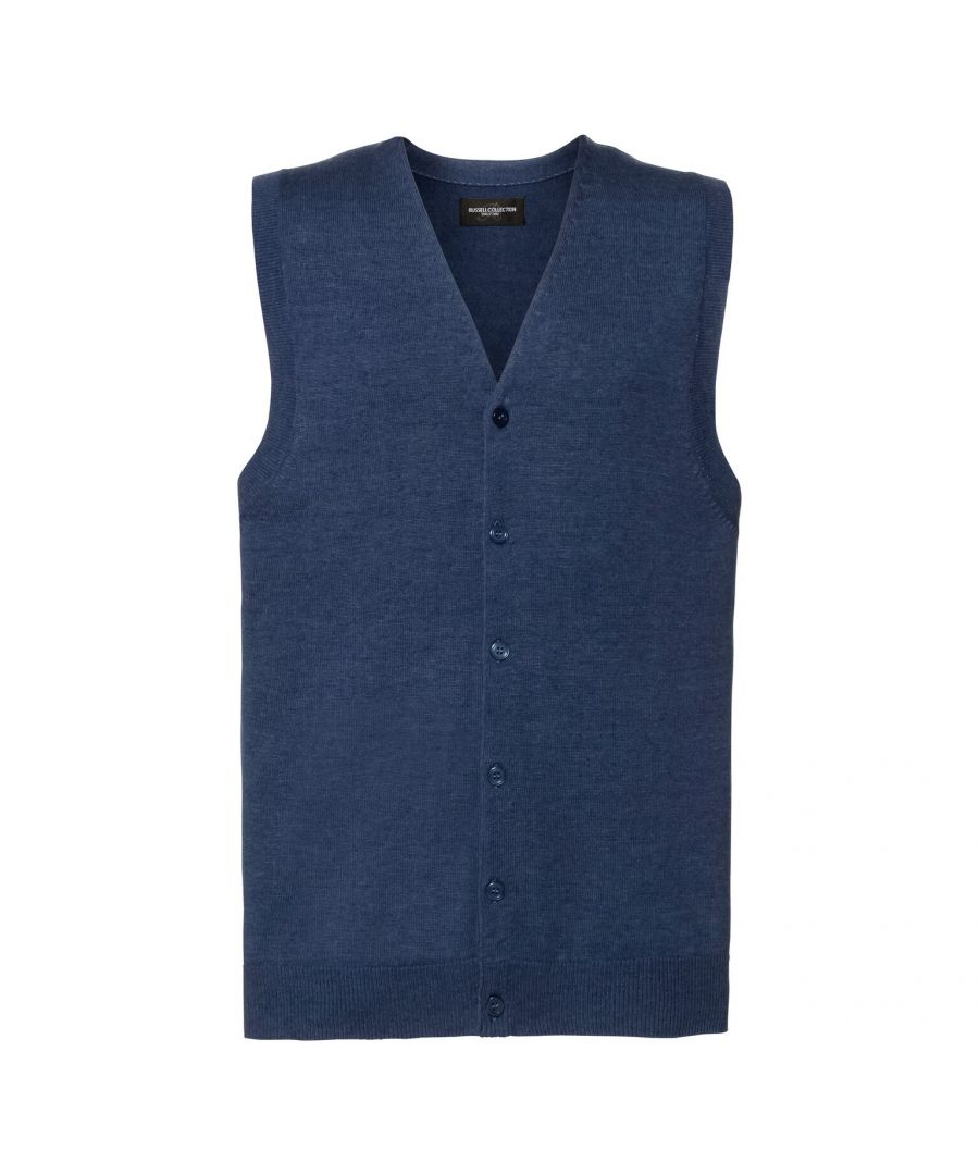 Image for Russell Mens Sleeveless Cotton Acrylic V Neck Cardigan (Denim Marl)