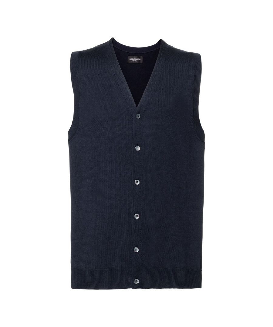 Image for Russell Mens Sleeveless Cotton Acrylic V Neck Cardigan (French Navy)