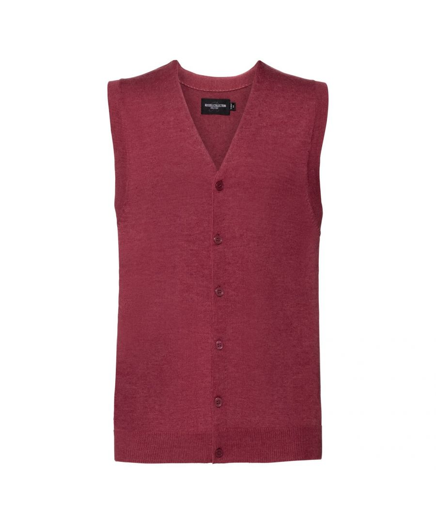 Image for Russell Mens Sleeveless Cotton Acrylic V Neck Cardigan (Cranberry Marl)