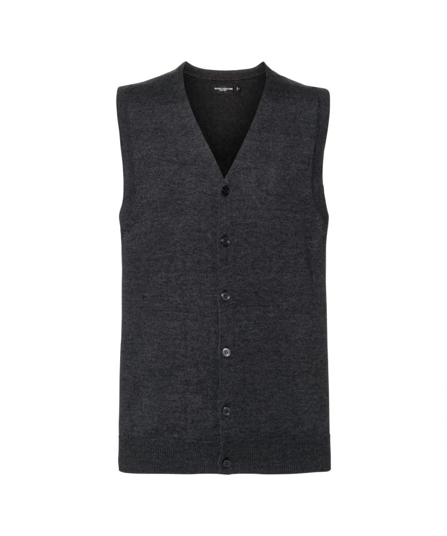 Image for Russell Mens Sleeveless Cotton Acrylic V Neck Cardigan (Charcoal Marl)