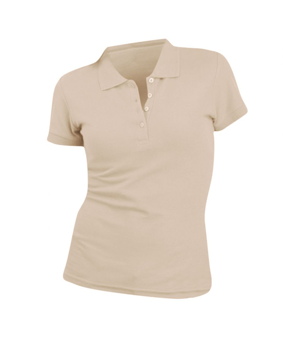 Image for SOLS Womens/Ladies People Pique Short Sleeve Cotton Polo Shirt (Sand)