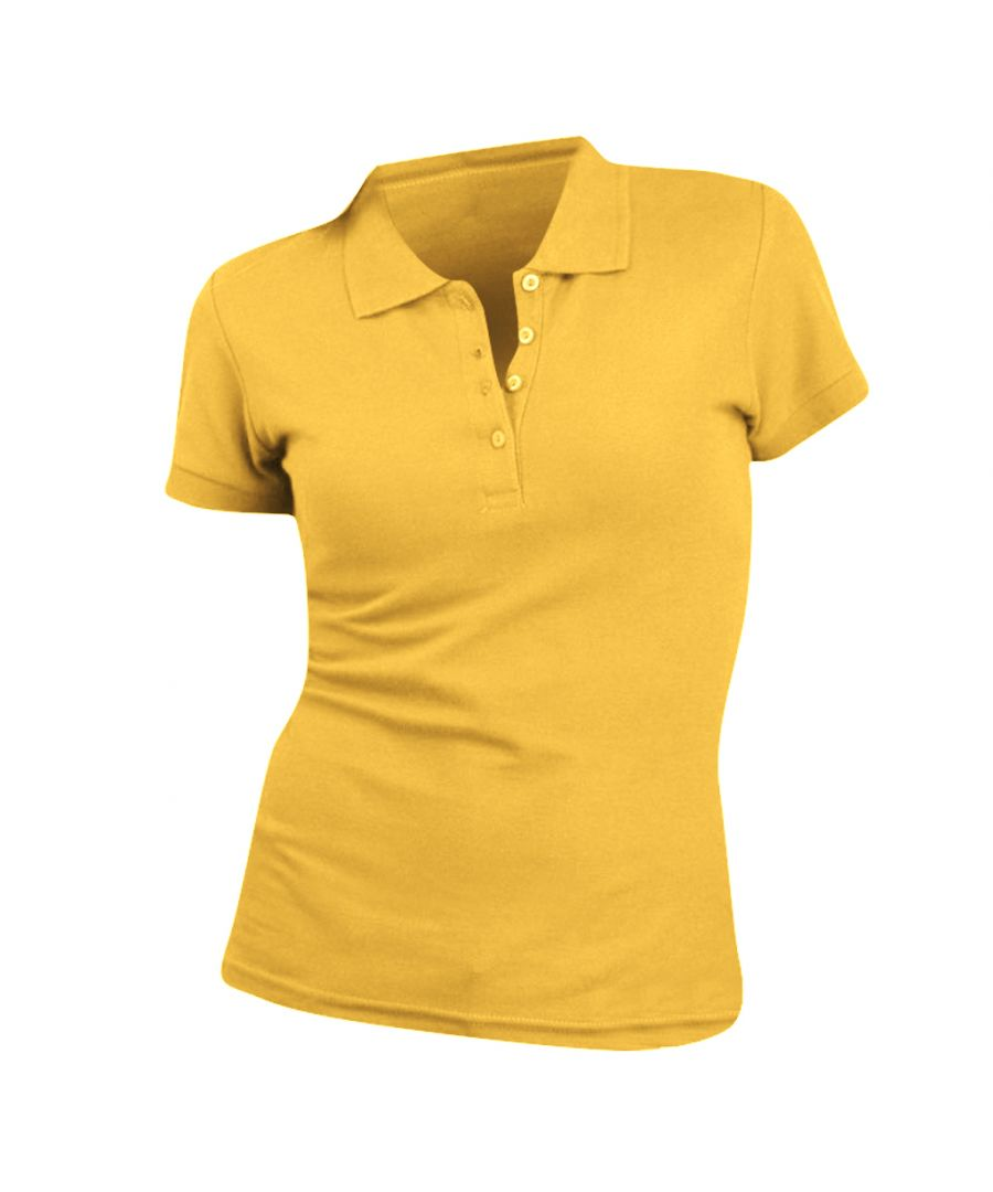 Image for SOLS Womens/Ladies People Pique Short Sleeve Cotton Polo Shirt (Gold)