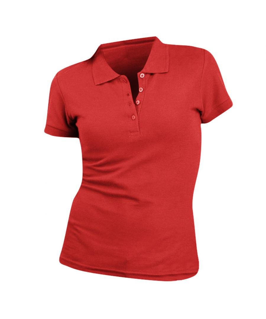 Image for SOLS Womens/Ladies People Pique Short Sleeve Cotton Polo Shirt (Red)