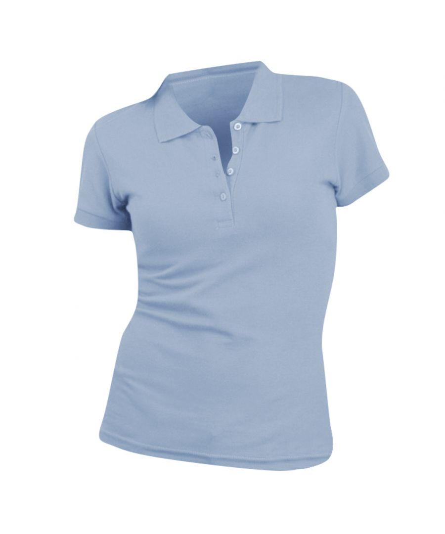 Image for SOLS Womens/Ladies People Pique Short Sleeve Cotton Polo Shirt (Sky Blue)